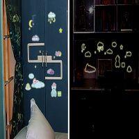 可爱睡熊自粘夜光墙贴儿童房间装饰DIY新款荧光创意AY0010