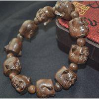 天然越南沉香佛头手链 达摩佛珠手串 男女款雕刻手链 厂家直销