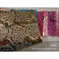 新款PVC玫瑰花面料压花皮革花朵花形人造革凹凸花纹pvc包装箱包料