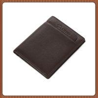 百迪皮具厂生产定做进口头层自然细摔纹牛皮短款男式钱包竖款钱夹