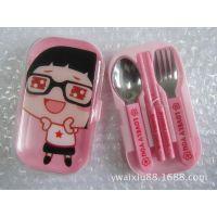 迷你伸缩餐具套装/卡通式高级不锈钢餐具套装礼盒/勺叉筷餐具礼盒