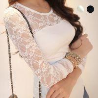 包邮长袖T恤女2014秋装新款韩版蕾丝衫修身显瘦打底衫上衣女DF