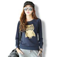 韩国时尚女T恤 秋冬新款长袖打底衫 猫头鹰个性t恤女 厂家直销537