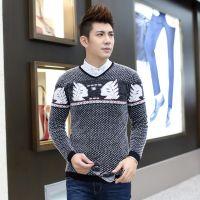 2014秋冬新款V领男式毛衣纯色羊绒衫韩版男装加厚毛衣