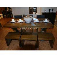 美式乡村西餐桌桌椅组合 奶茶店桌椅组合 咖啡厅桌椅组合 批发 铸铁双底盘
