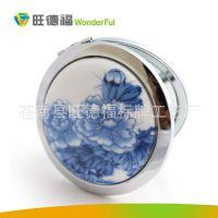 厂家直销韩款不锈钢不碎镜子方形化妆镜折叠高档随身镜创意图案