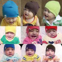 出口韩国 外单纯色儿童帽子 外贸全棉儿童套头帽 秋冬帽子批发