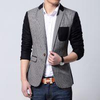 供应男式春装新款 男士韩版格子休闲西装 热卖款212Jwpq148821P188