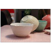 蕾丝浮雕碗 出口陶瓷 镂空蝴蝶 宜家 美式乡村 欧式碗