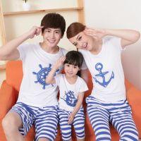 2014亲子装一家三口韩版印花t恤休闲套装母子装母女装
