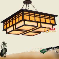 供应4头9头中式吊灯高档实木雕刻灯餐厅卧室客厅灯饰酒店茶楼工程灯8009