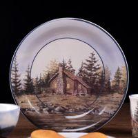 现货 木屋森林欧式陶瓷餐具 美式乡村碟盘马克杯外贸出口