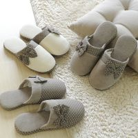 蝴蝶结冬季可爱女士半包跟棉拖鞋  秋冬季室内地板家居防滑拖鞋