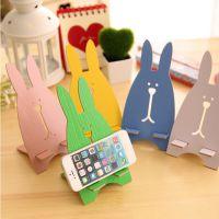 礼品定制 韩国兔子手机座 越狱兔木质手机托 可爱长耳兔手机