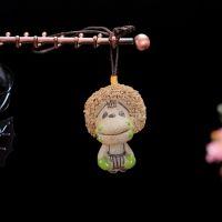 陶瓷风铃 陶瓷挂件手工手绘风铃 两节款风铃磨砂爱情猴陶瓷小商品