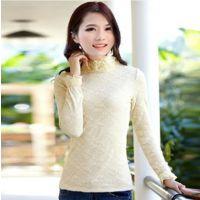 加绒蕾丝打底衫 2013新款秋冬高领蕾丝打底衫长袖