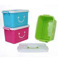中号加厚塑料整理箱 印笑脸收纳储物箱 多功能手提塑料箱 带盖