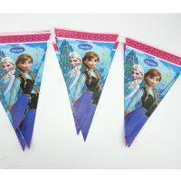 冰雪奇缘儿童生日派对用品 装饰会场布置用品 三角旗 挂旗 彩旗