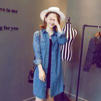韩版大码女装2014秋冬蓝色长袖翻领牛仔外套长款百搭女开衫HH303L