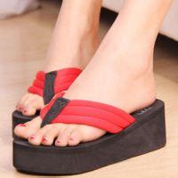 夏季女士拖鞋 时尚家居拖鞋 家居凉拖 韩版时尚布带坡跟鞋