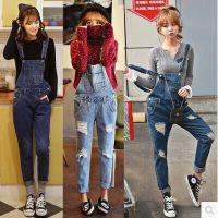 2014韩国代购新款时尚街头修身显瘦牛仔背带裤破洞牛仔吊带裤潮