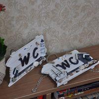 WC挂牌 手工 木制 创意 廁所板 装饰挂件一件代发 MA17027A/B