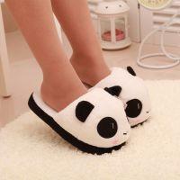 出口韩国卡通仿真表情熊猫家居毛绒半包跟棉拖鞋 女士拖鞋批发