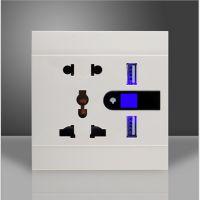供应USB墙壁插座 万能五孔双USB 轻触开关 时尚插座 多功能插座