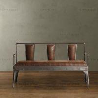 餐厅时尚复古休闲双人椅 创意沙发扶手椅子 LOFT设计师美式铁餐椅