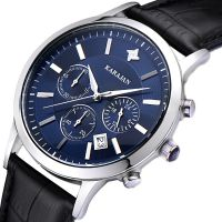 卡拉扬正品男表 新款时尚三眼计时运动石英腕表 男士手表真皮表带