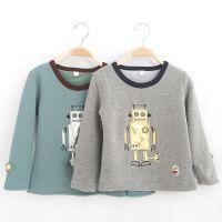 2014秋冬款 童装儿童韩版卡通机器人贴布不倒绒加厚打底衫