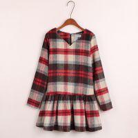 秋冬韩国英伦风时尚格子修身短毛呢连衣裙