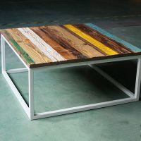 实木彩色茶几 美式实木家具 复古客厅茶桌时尚休闲茶几方形小桌子