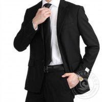 供应纯棉潮流黑色男士修身西装 款式时尚 尽显绅士之风范