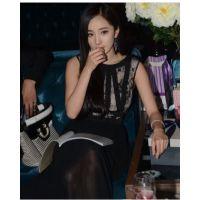2015杨幂明星同款蕾丝雪纺拼接修身长裙无袖连衣裙