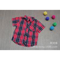 2014新款外贸原单儿童短袖衬衫  外贸男童夏季衬衫   童衬衫批发