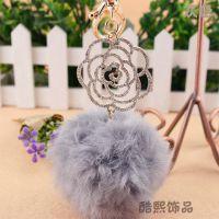 酷熙饰品兔毛毛球创意牡丹花钥匙链扣女士韩国汽车钥匙挂件水钻