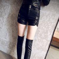 2014秋冬季新款韩版高腰显瘦大码U皮短裤女靴裤皮裤潮