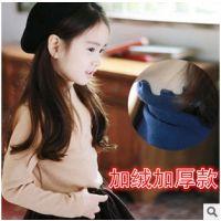 2014秋冬韩版童装儿童纯色高领打底衫 宝宝木耳边女童T恤中小童装