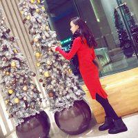 秋冬新款韩版气质长款针织连衣裙 修身圆领开叉长款套头毛衣裙