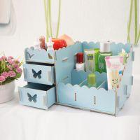 韩版创意DIY桌面木质 化妆品收纳盒收纳架 带抽屉置物架