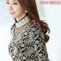 韩国实拍 秋季新款女装 蕾丝绣花高领打底衫 女