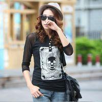 2014秋装新款韩版女骷髅头棉V领纽扣T恤网纱长袖打底衫
