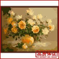 外贸定制油画 花卉 手绘数字油画数字油画贴牌无框画G052馨香花开