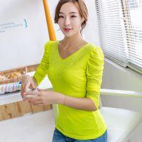 韩版女式修身时尚烫钻打底衫 长袖双层面料网纱T恤 批发 X8025
