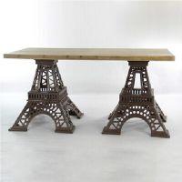 可定做 新品美式铁艺创意家具个性桌椅组合埃菲尔铁搭桌子咖啡桌