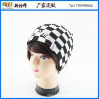 外贸出口 新款韩版时尚格子保暖毛线帽 秋冬男女士绣花针织帽