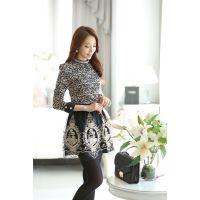 韩国实拍 2014秋季新款女装 韩版修身 钉珠蕾丝打底衫