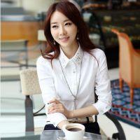 5233#秋装新款韩版大码女装衬衣烫钻雪纺上衣打底衫 白衬衫女长袖