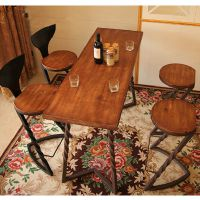 可定做星巴克创意餐桌椅组合复古咖啡桌餐厅家用餐桌铁艺实木桌子